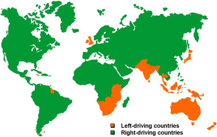 In welk land rijden ze links